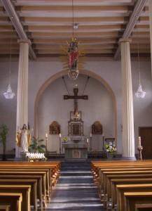 Innenansicht der Pfarrkirche Oedingen heute