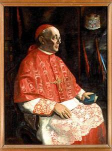 An den Wänden der Sakristei des Kölner Doms hängen Porträts der Erzbischöfe von Köln, Auch dieses von Kardinal Schulte