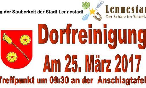 Einladung zur Dorfreinigung am Samstag 25. März 2017