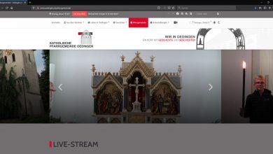 """Bild von Informationen und Livestream Gottesdienste jetzt unter dem Menüpunkt """"Pfarrgemeinde"""""""